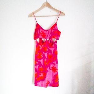 60s 70s Hawaiian cut out mini dress